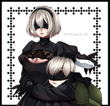 Nier Automata : 2B and 9S by Poltergeist-El