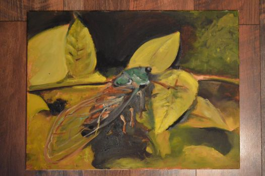 Cicada Oil Painting by Ranbooby