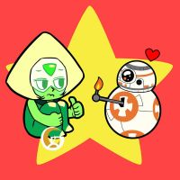 Crossover: Peridot with BB8 by mitgard-knight