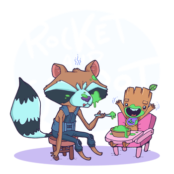 Rocket raccoon and Groot! by lost-angel-less