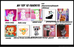 My Top Ten Favourite Cat Characters Female Edition by catloverbunny3