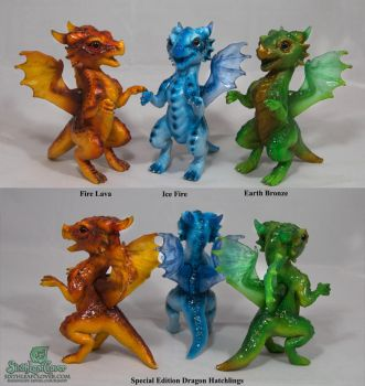 Dragon Hatchlings Elements by The-SixthLeafClover