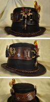 Steampunk Leather Top  Hat by ajldesign