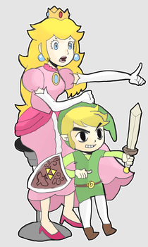 Princess Peach and Toon Link by AlSanya