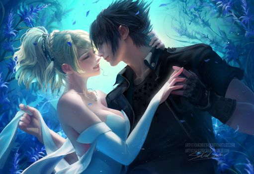 Blue Haven.Noctis Luna. by sakimichan