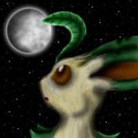 Leafeon and the moon by FireRai