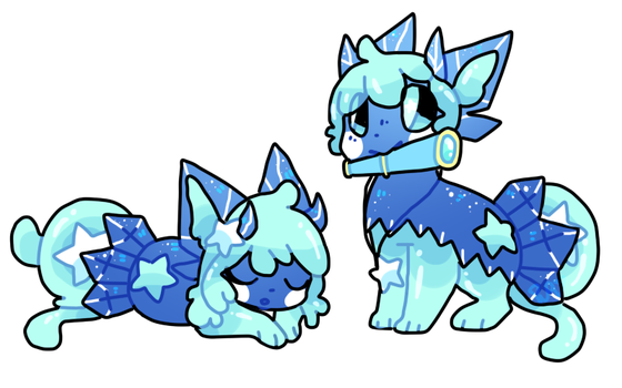 Twin star slimerock pups by puqqie