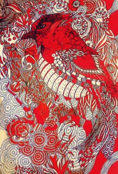 Finished red bird by lilibloom24601