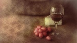 Wine, Grapes and Cheese by 2createmedia