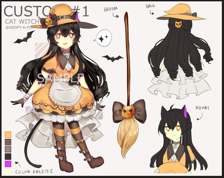 Custom Adoptable #1 : Cat Witch by Adopt-A-Fish