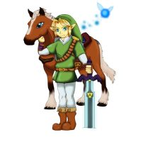 OoT: Adult Link  Epona and Navi by ShadowWhisper446