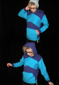 turqouise and purple hoodie by shelbyRUDE