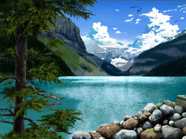 [MS PAINT] - Lake Louise, Canada by crb3617