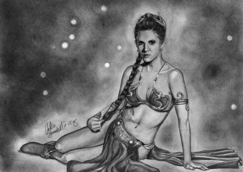 Leia Organa Graphite Drawing by AngelinaBenedetti