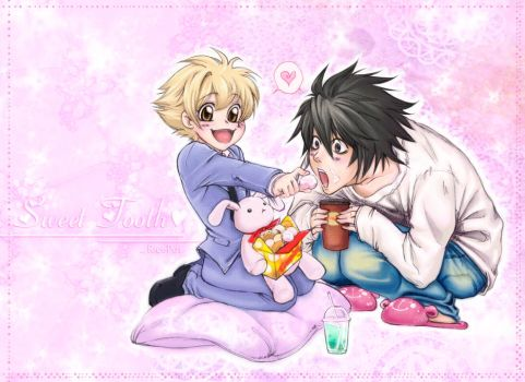 L and Hani -Death Note-Ouran- by Ricepot