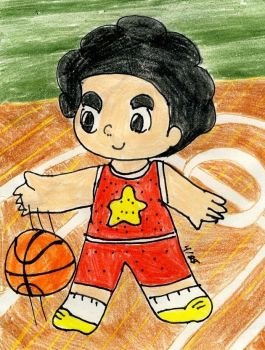 Steven playing basketball by TaintedTruffle