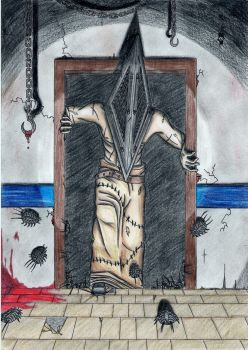 The Pyramid Head is coming for you... (coloured) by Ssk995